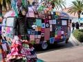Dressed tree and handcraft covered van display