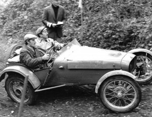 Graham Hill and Colin Chapman trialling in a 1172cc side valve Cannon