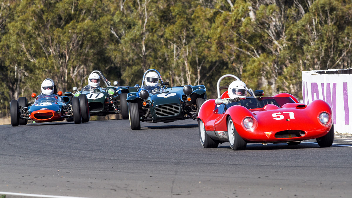 Barry-Bates-in-the-Thompson-Ford-leads-John-Barram-in-Lotus-Seven-Don-Thallon-MRC-F-junior-and-Warwick-Mcbean-in-the-Nota-Tace