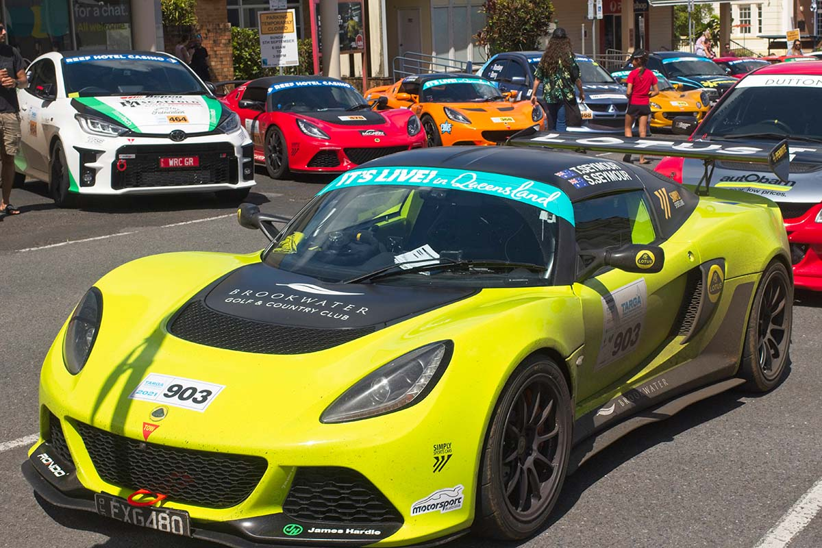 Tony-Peter-and-Criss-cars-on-display-at-the-finish-in-Cairns